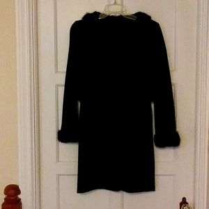 Vintage black butte knit and mink trim dress